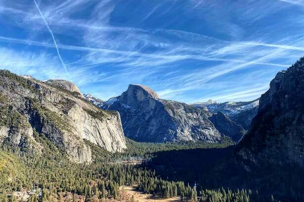 A view of Half Dome from Upper Yosemite Fall.