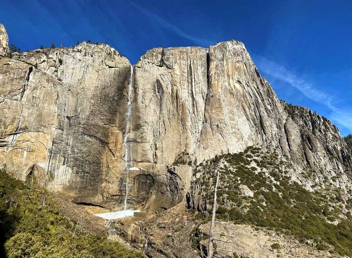 """A photo of Yosemite Falls on Jan. 14, the day """"Alice"""" Yu Xie hiked to the top and fell from a cliff."""