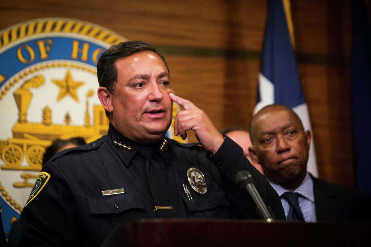 """Houston Police Department Art Acevedo points at where he saw a bruise on one of the sex workers who he spoke to at the Bissonnet area where prostitution and human trafficking is rampant as part of HPD effort to eradicate activity related to buying and selling sex. The sex worker said the bruise was caused by her pimp. County Attorney Vince Ryan, along with Mayor Sylvester Turner and the HPD announced, Wednesday, Aug. 8, 2018, in Houston a partnership to stop prostitution and human trafficking on Houston's west side area known as """"Bissonnet Track."""""""