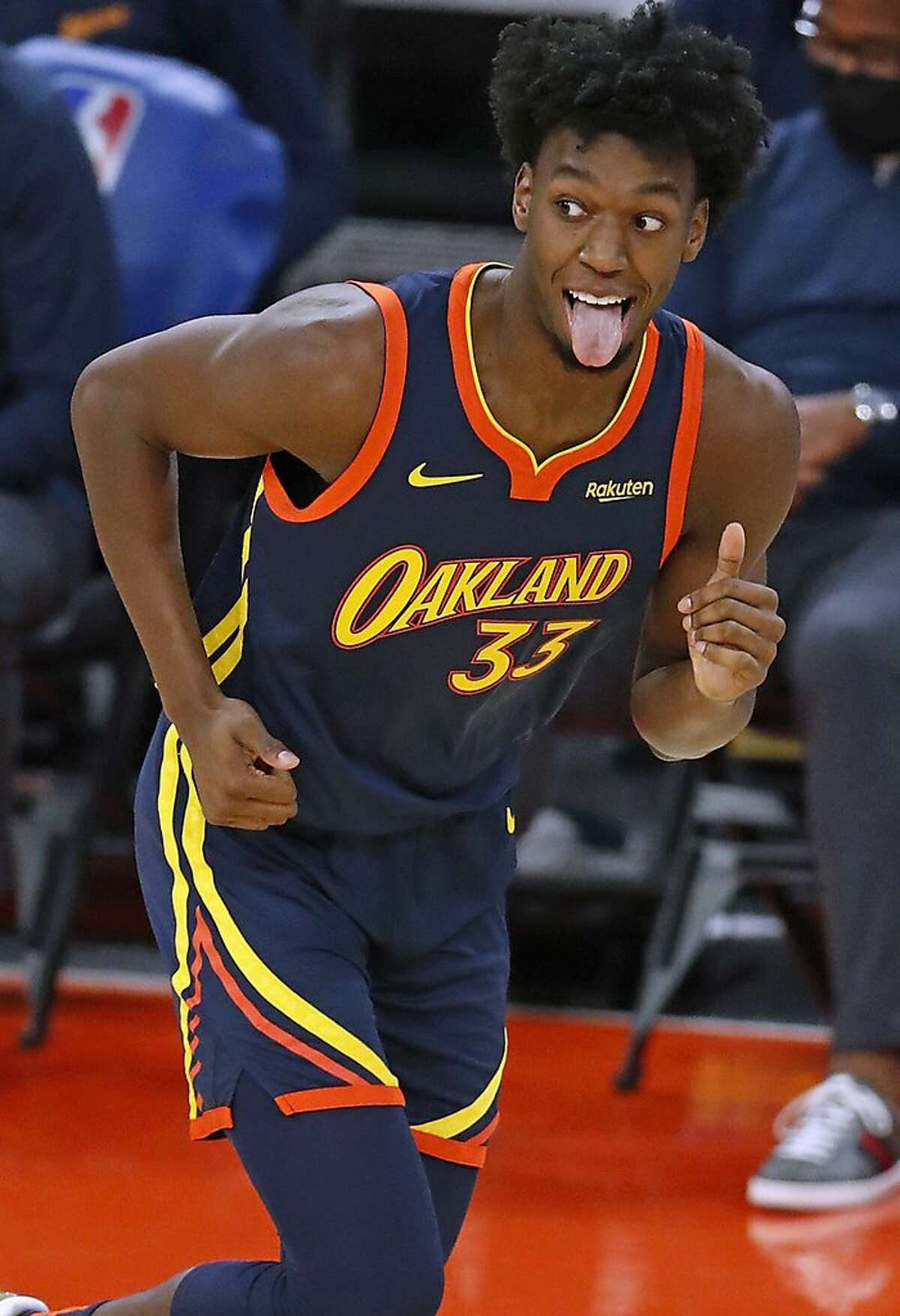 Golden State Warriors' James Wiseman reacts to his second 3-pointer against Minnesota Timberwolves in 1st quarter during NBA game at Chase Center in San Francisco, Calif., on Wednesday, January 27, 2021.