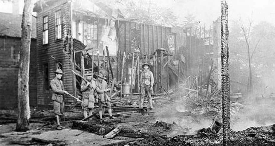 Some ruins are left in 1908 in the wake of days of rioting in Springfield. Photo: Sangamon Valley Collection, Lincoln Library