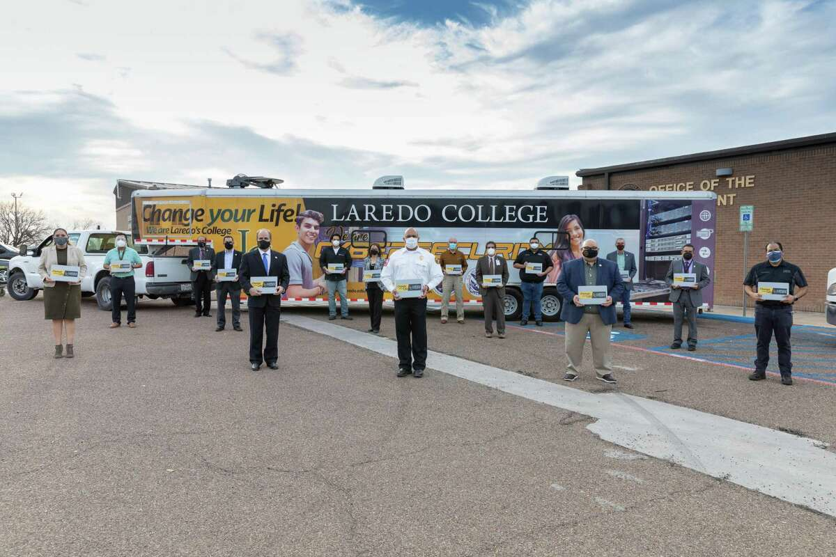 Laredo College is providing 30 laptops to the City of Laredo to use in processing vaccination services.