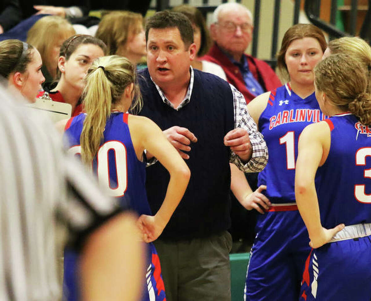 Carlinville athletics director Darrin DeNeve, shown in his job as Cavaliers girls basketball coach, and the rest of the ADs in the South Central Conference met Wednesday to address scheduling in condensed seasons played over the next five months.