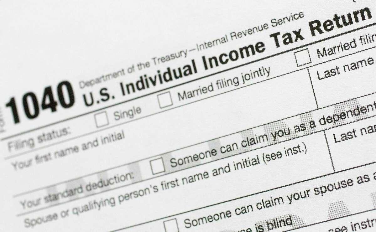 A file photo of a 1040 tax return form.