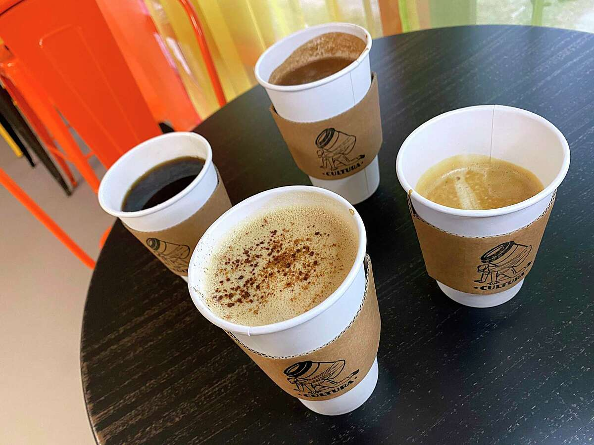 Coffee drinks at the new Cultura coffee shop on San Antonio's South Side include, clockwise from front, an horchata latte, house blend drip coffee, a Oaxacan chocolate latte and a cortado.