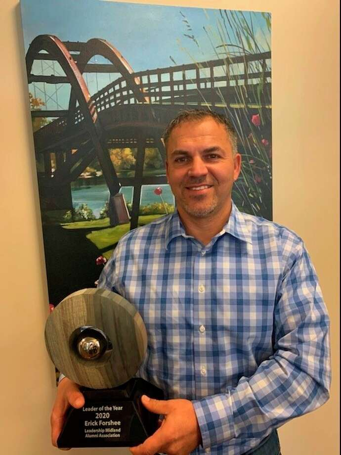 """Erick Forshee, of Fisher Companies, became the 31st recipient of the Leadership Midland Alumni Association's """"Leader of the Year"""" award. (Photo Provided)"""