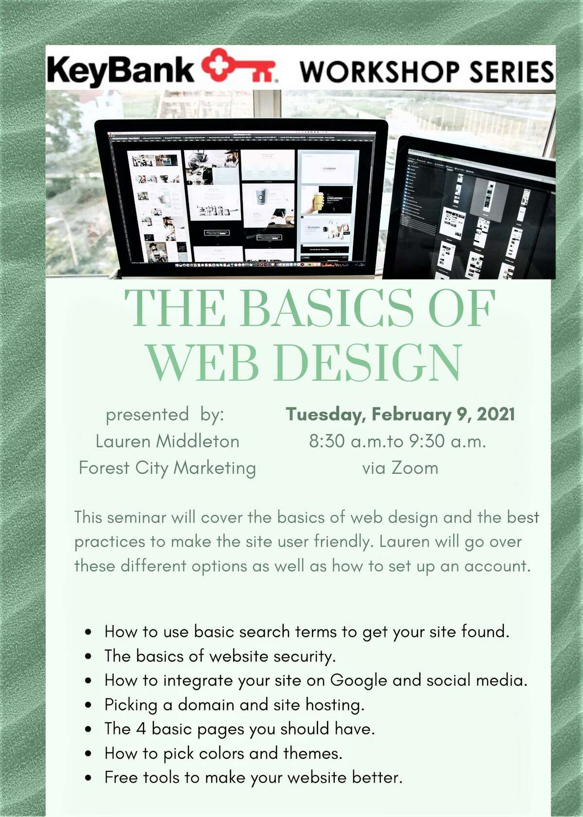 """The Middlesex County Chamber of Commerce will be hosting a virtual KeyBank workshop on """"The Basics of Web Design."""""""