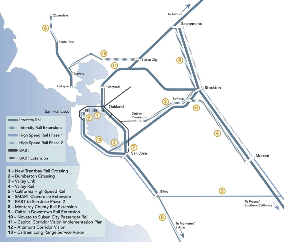 """This new map from the Bay Area Council Economic Institute envisions an ambitious train network linking together the Northern California """"Megaregion."""""""