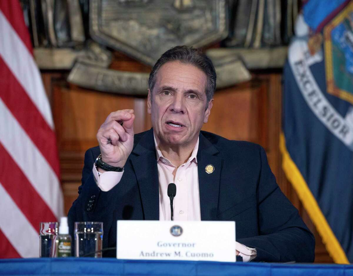 Gov. Andrew M. Cuomo provides a coronavirus update from the Red Room on Jan. 20, 2021, at the Capitol in Albany, N.Y. Certain GOP candidates might be considering a run against Cuomo in 2022. (Mike Groll/Office of the Governor)