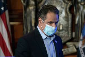 Governor Andrew M. Cuomo provides a coronavirus update from the Red Room on Jan. 18, 2021, at the State Capitol in Albany, N.Y. (Mike Groll/Office of the Governor)