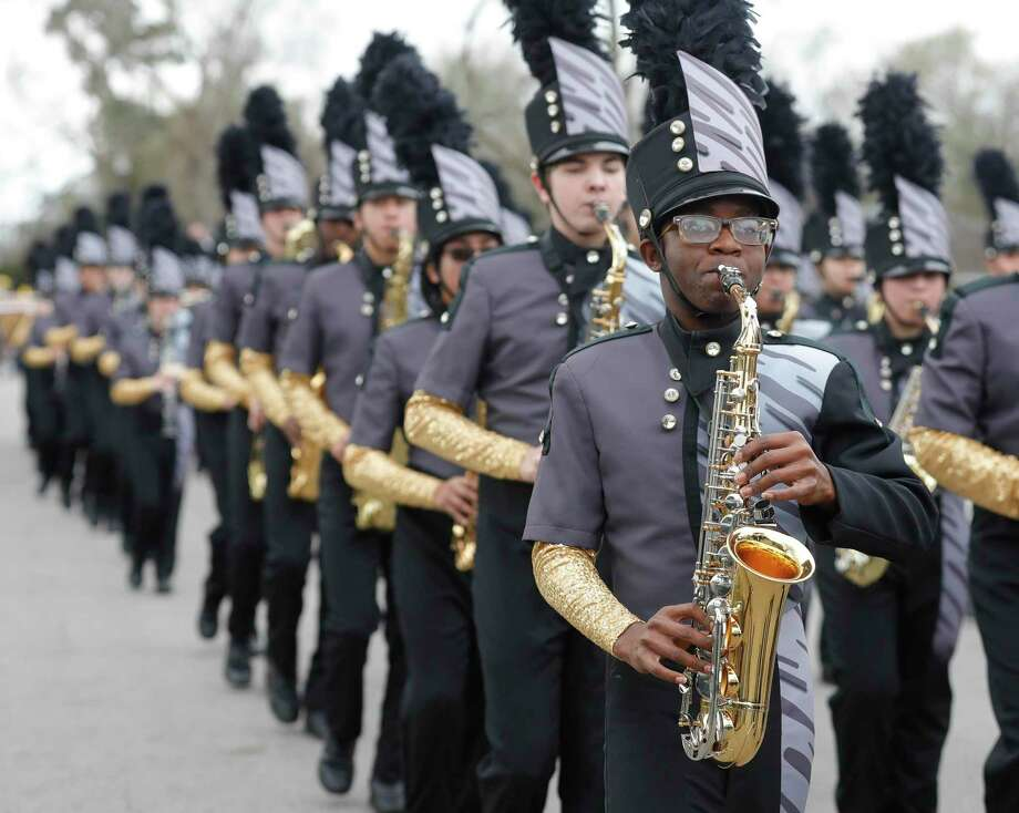 Members of the Conroe Tiger Band take part in the annual Leon Tolbert Annual Black History Month Parade, Saturday, Feb. 8, 2020, in Conroe. This year's parade is set for Feb. 13 Photo: Jason Fochtman, Houston Chronicle / Staff Photographer / Houston Chronicle © 2020