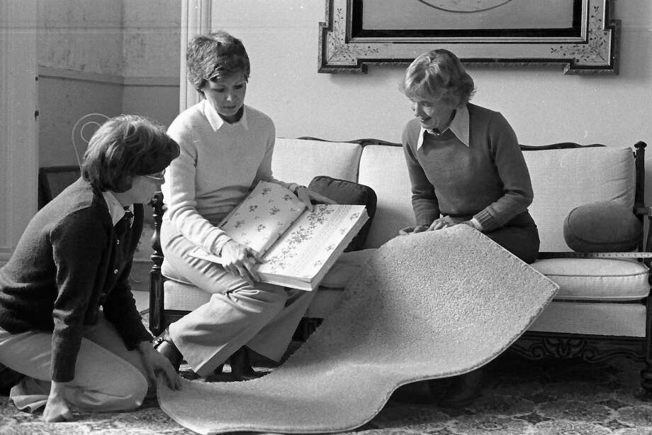 From today's issue of the Manistee News Advocate in 1981, members of the decorations selection committee confer on materials for ongoing projects. (From left) Flo Mahler, Connie Erickson and Blythe Cowan are shown. (Manistee County Historical Museum photo)
