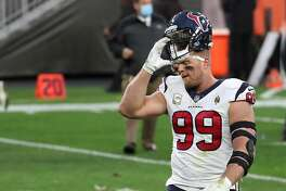 Houston Texans defensive end J.J. Watt (99) walks off the field after the Texans 10-7 loss to the Cleveland Browns at FirstEnergy Stadium Sunday, Nov. 15, 2020, in Cleveland.