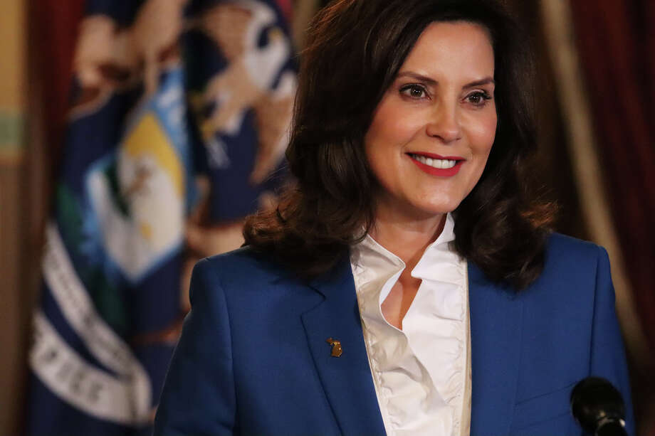 In a photo provided by the Michigan Office of the Governor, Gov. Gretchen Whitmer delivers her virtual State of the State address the state, Wednesday, Jan. 27, 2021 in Lansing. Photo: Courtesy Photo/Michigan Office Of The Governor