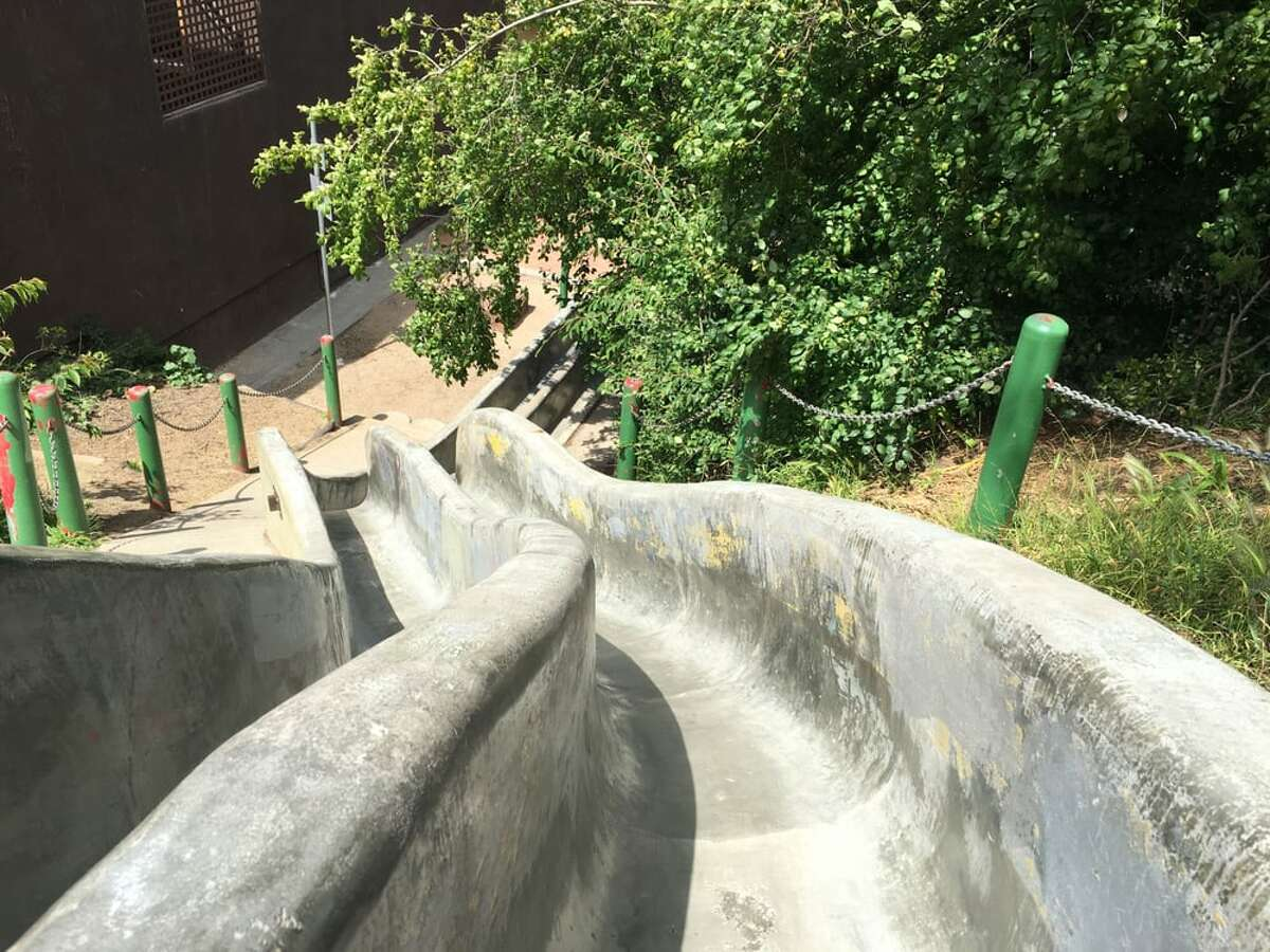 Twin concrete slides at Seward Mini Park in San Francisco's Castro neighborhood offer thrills.
