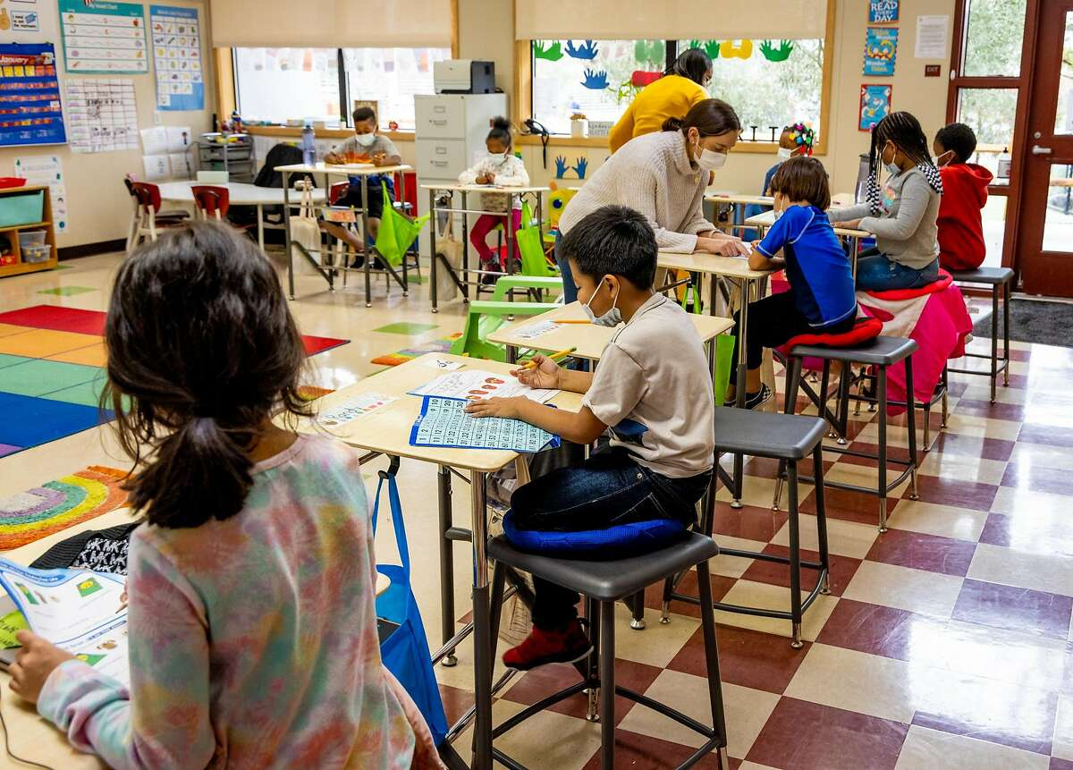 Students at the MLK Bayside school attend 1st grade in Sausalito, Calif. on January 28th, 2021