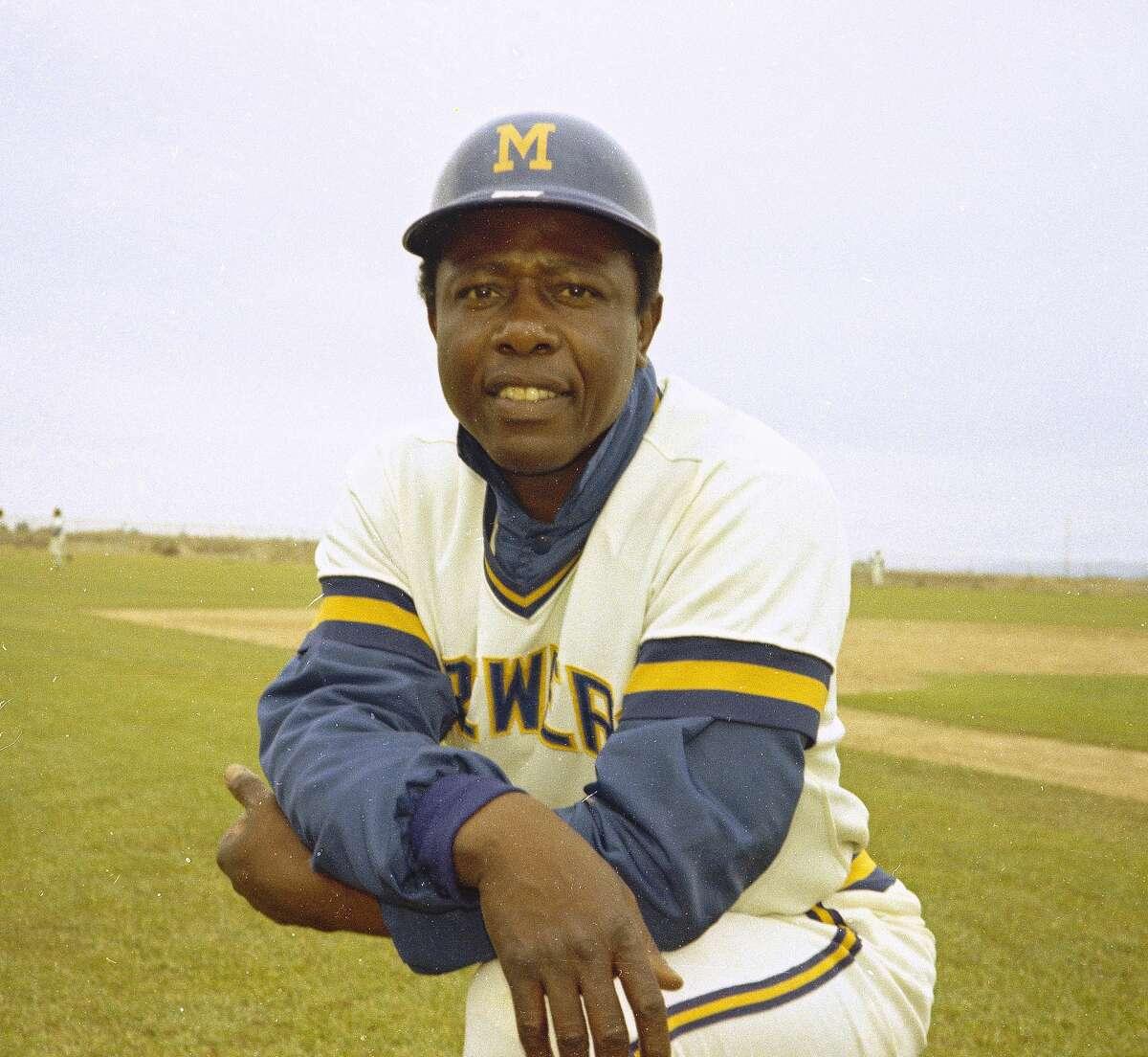 Milwaukee Brewers' outfielder Hank Aaron is seen in 1975. (AP Photo)