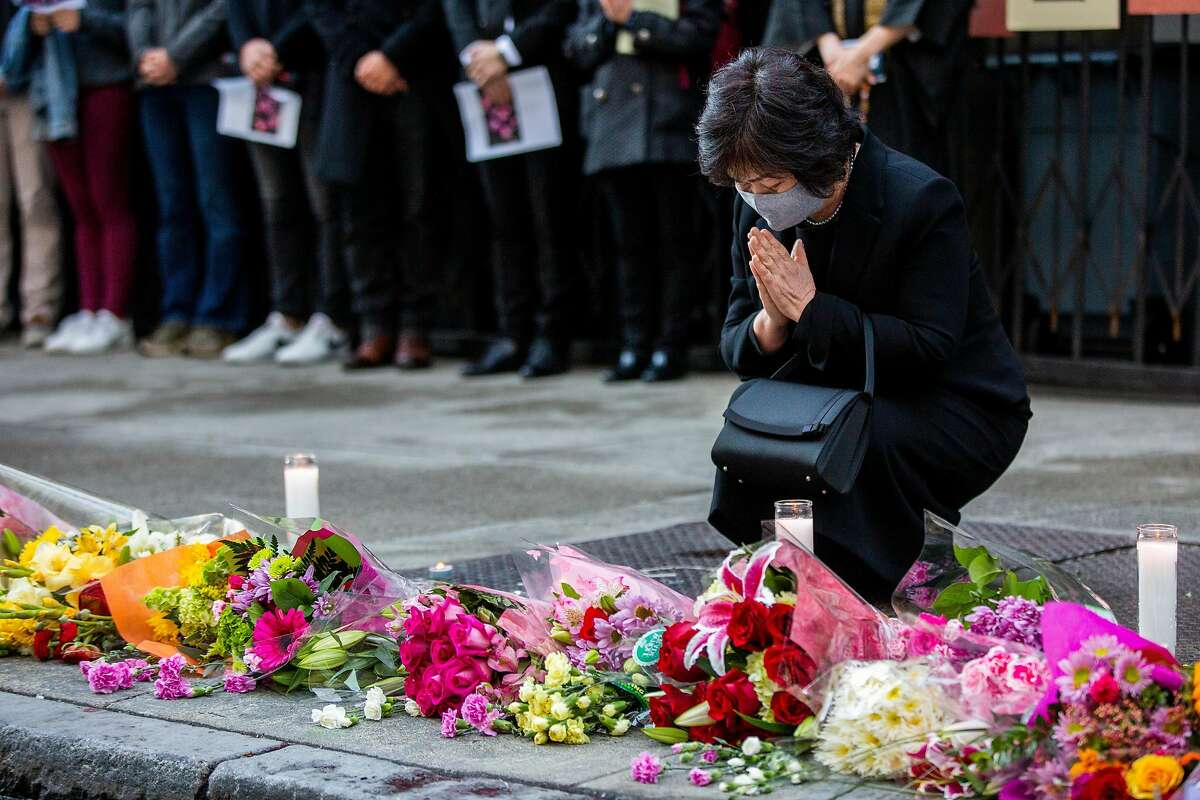 Hiroko Abe attends a memorial services for daughter Hanako Abe, a pedestrian killed on New Year's Eve allegedly by a stolen car driven by a parolee.