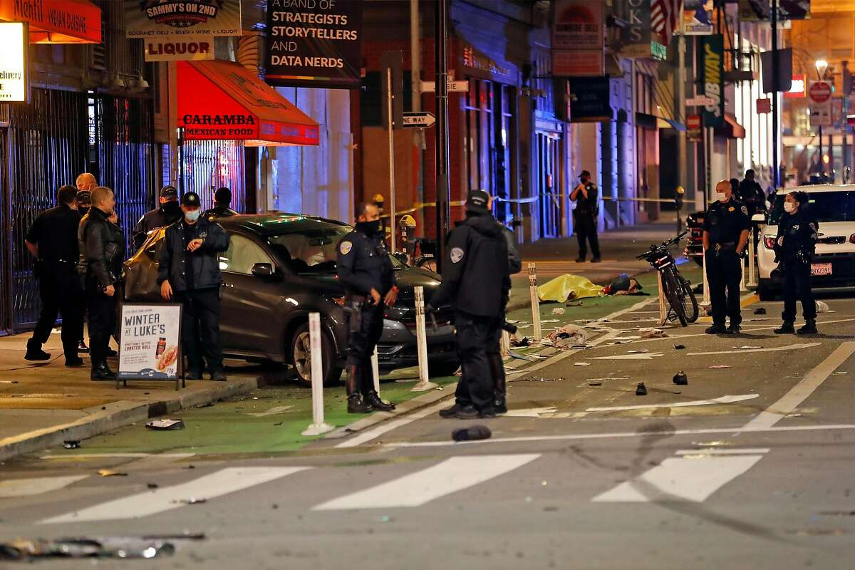 Police cordon off the scene of a New Year's Eve crash in a Second Street crosswalk at Mission Street. The crash ignited a broader debate over whether progressive approaches to crime go far enough, or too far.