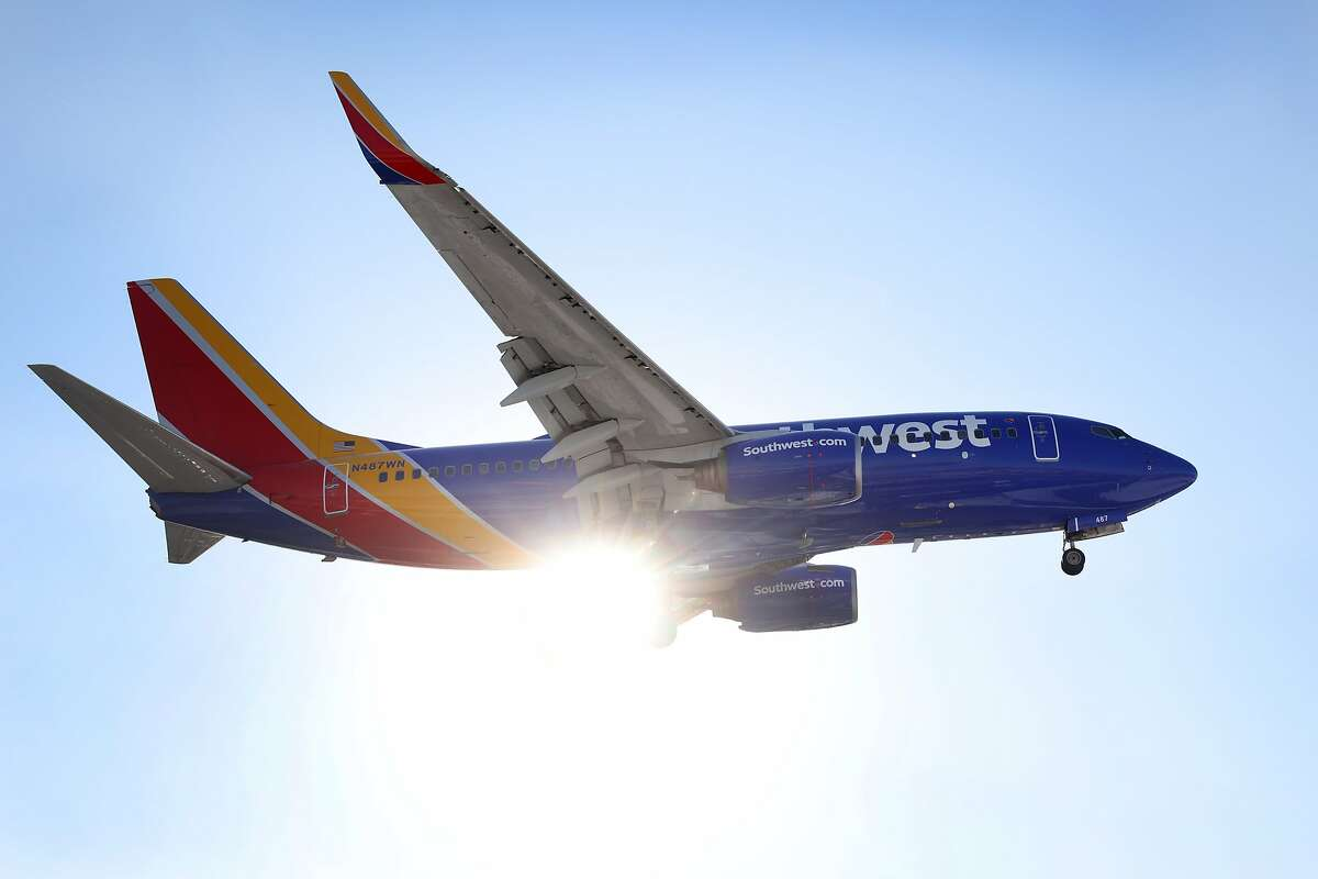 A Southwest Airlines jet lands at Midway International Airport on Jan. 28, 2021, in Chicago, Illinois. The airline has confirmed that the pilot who went on an expletive-laden rant against the Bay Area works for Southwest.