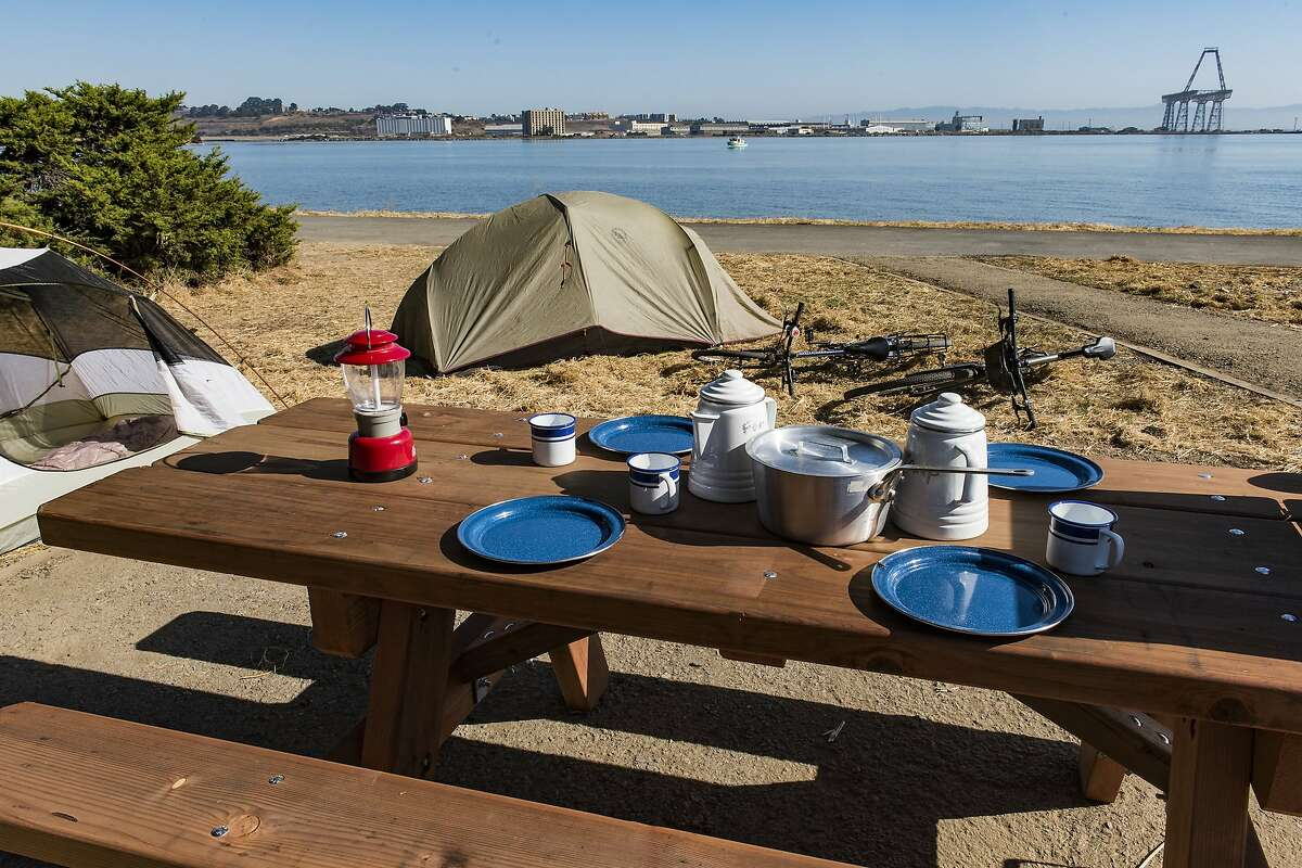 A campsite at Candlestick Point State Recreation Area in San Francisco.