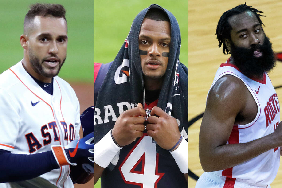 George Springer (left) and James Harden (right) are gone while Deshaun Watson wants out in a rough month for Houston sports fans.