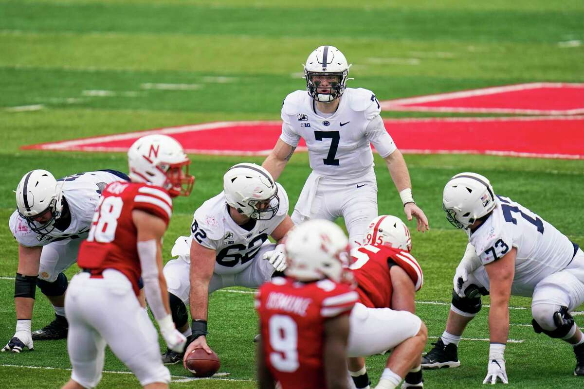 Penn State quarterback Will Levis (7) waits for the hike at the line of scrimmage during the second half of an NCAA college football game against Nebraska in Lincoln, Neb., Saturday, Nov. 14, 2020. Nebraska won 30-23.