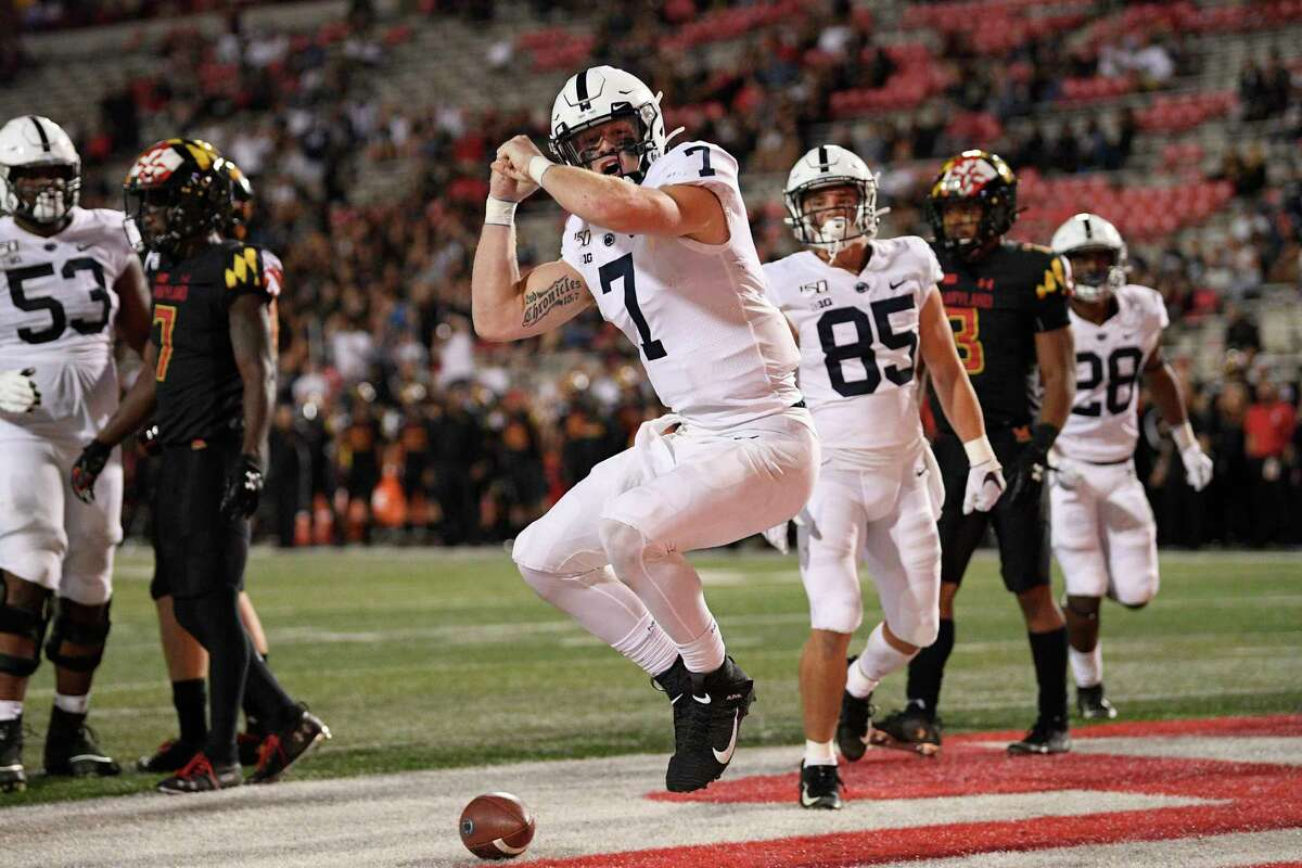 Penn State quarterback Will Levis (7) celebrates his touchdown during the second half of an NCAA college football game against Maryland, Friday, Sept. 27, 2019, in College Park, Md. Penn State won 59-0. (AP Photo/Nick Wass)