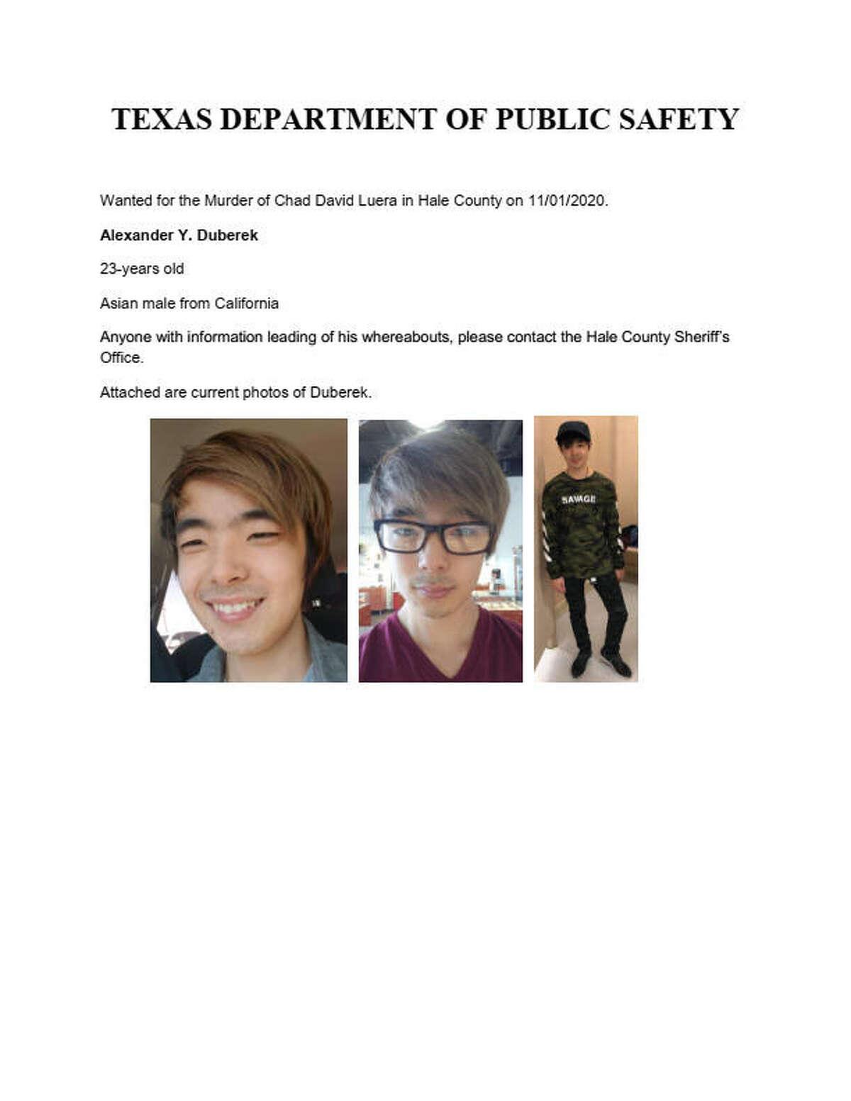 Wanted poster for Alexander Y. Duberek.