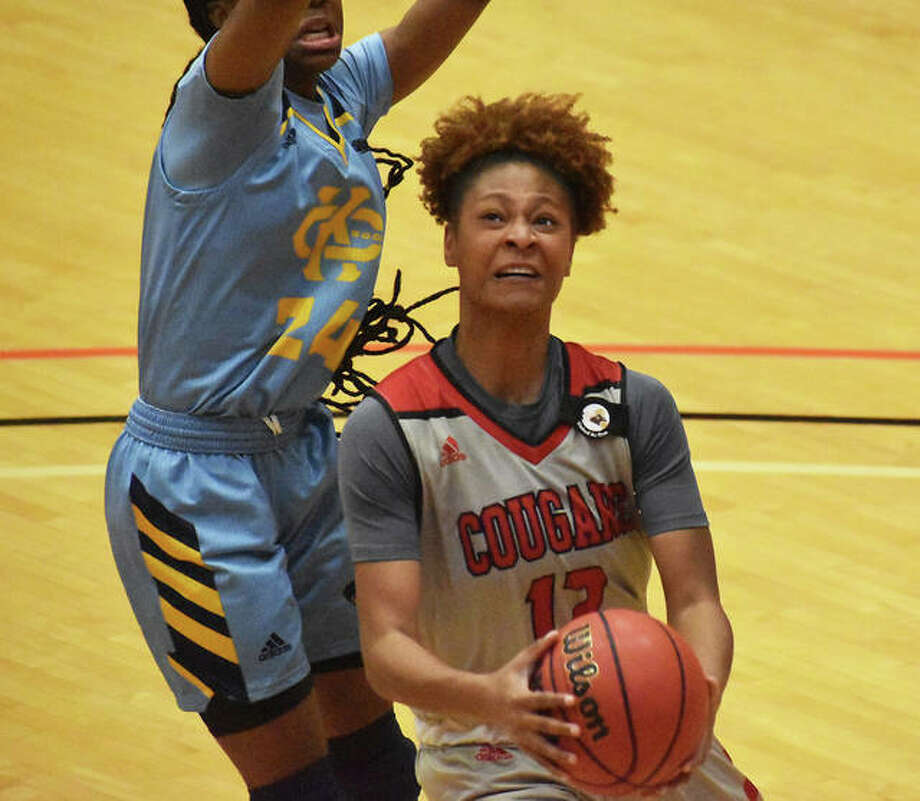 SIUE forward Mikayla Kinnard scored 14 points and grabbed seven rebounds in a loss to SEMO on Thursday. She is pictured going up for a shot during a home game earlier this season against Kansas City inside First Community Arena in Edwardsville. Photo: Matt Kamp|The Intelligencer