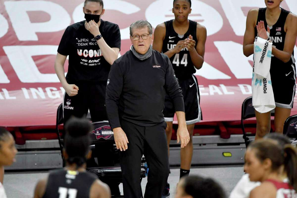 UConn coach Geno Auriemma reacts to a call during the second half against Arkansas in January.