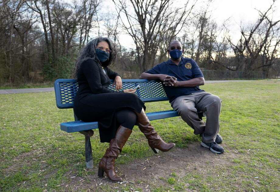 NAACP chapter president, Carl White, right and member, Lorena Perez McGill, pose for a portrait at Dr. Martin Luther King, Jr. Park, Thursday, Jan. 28, 2021, in Conroe. The local NAACP will be holding a community book initiative starting in February for Black History Month, reading The Color of Compromise. Photo: Gustavo Huerta, Houston Chronicle / Staff Photographer / Houston Chronicle © 2021
