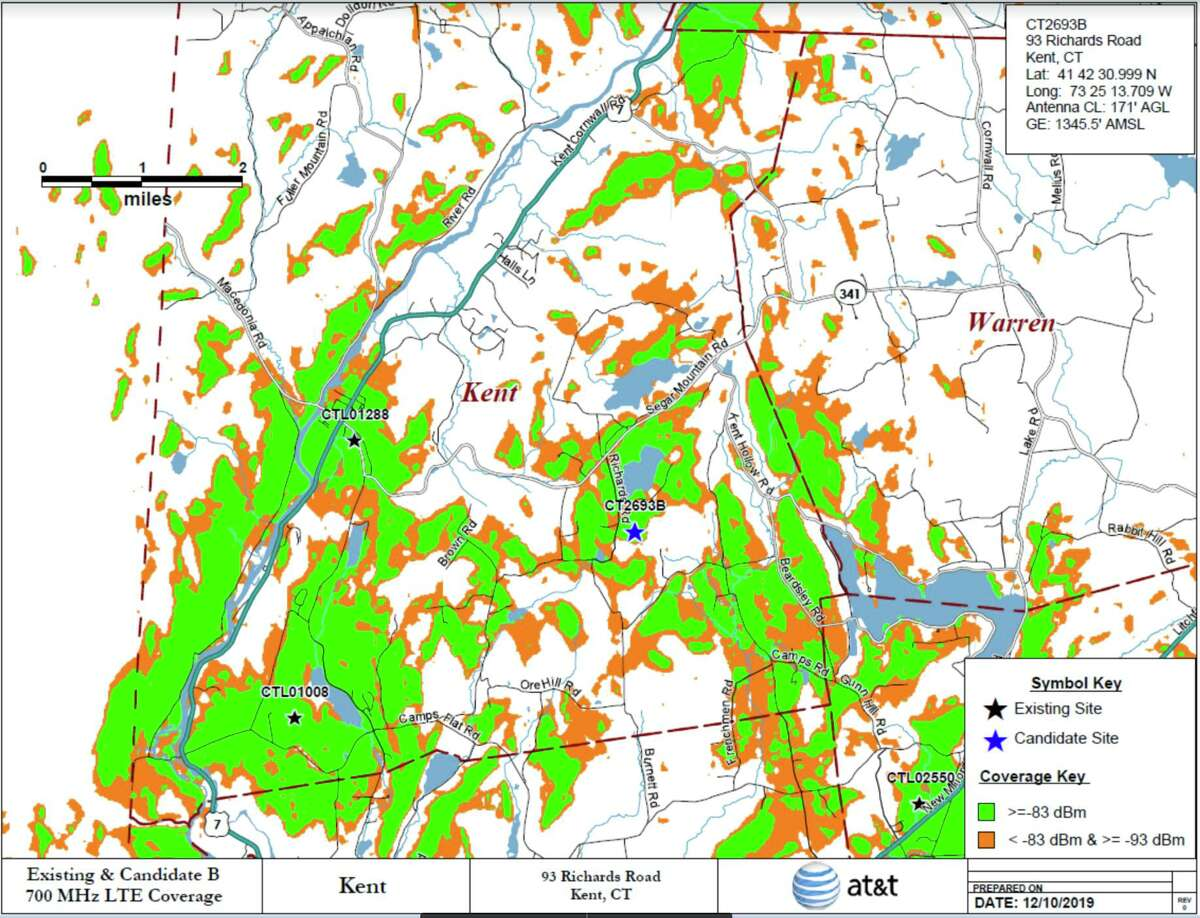 AT& Network's 700 MHz LTE coverage with proposed new cell tower at 93 Richards Lane in Kent, Conn.