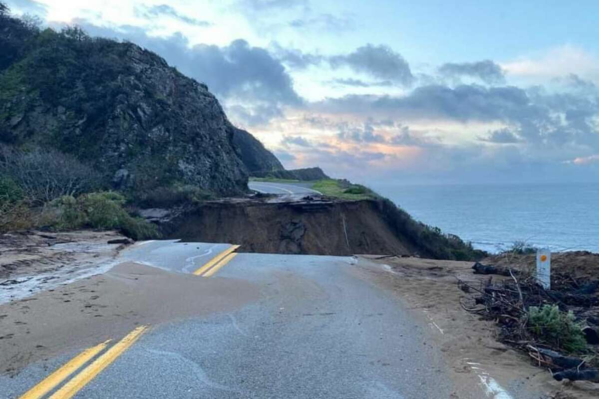 A section of Highway 1 at Mile Marker 30near Rat Creek in Monterey County collapsed during the rainstorm that hit the region.