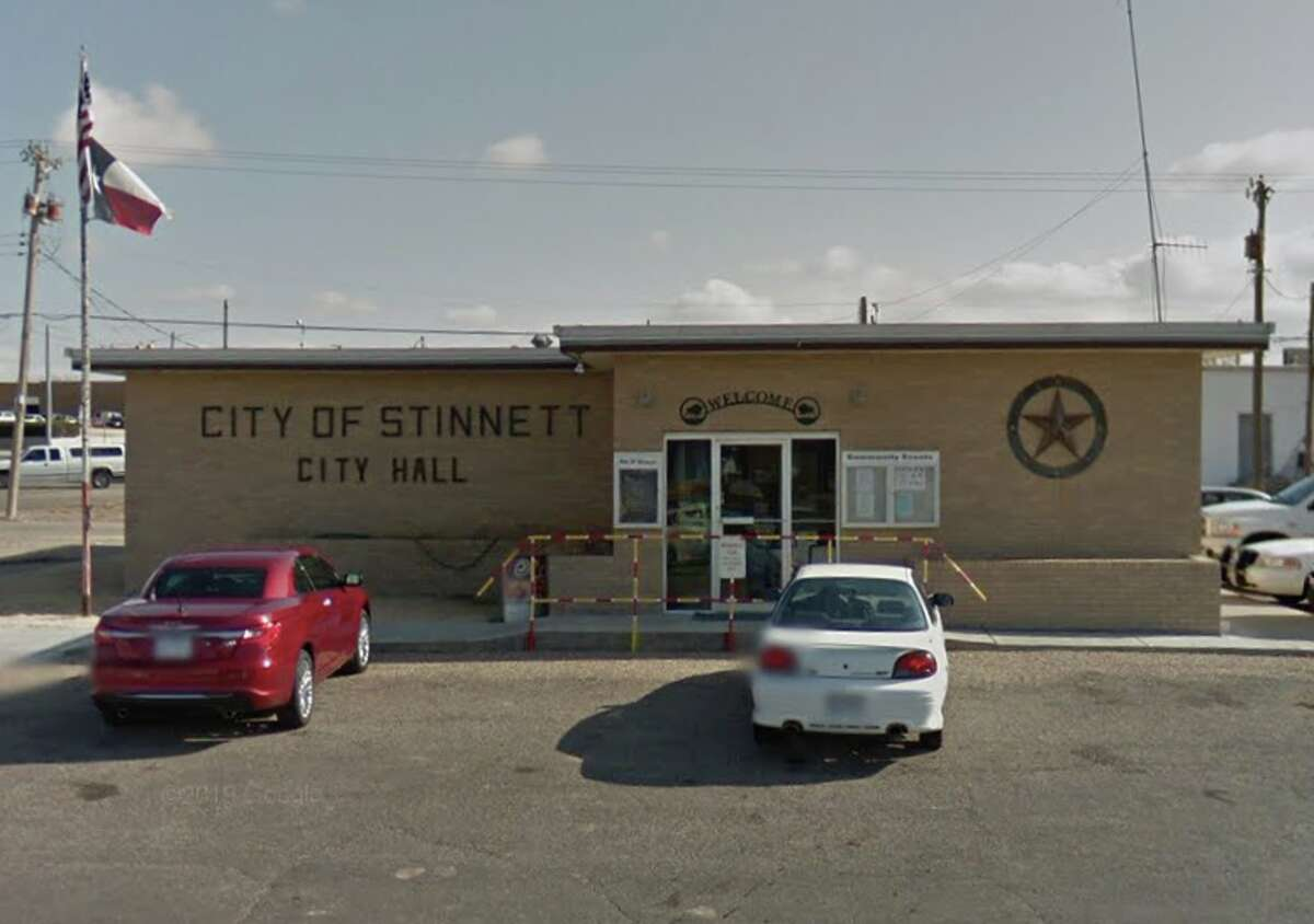 The city hall of Stinnett, 60 miles northeast of Amarillo. The city's police chief, Jason Collier, was arrested Thursday by the Texas Rangers.