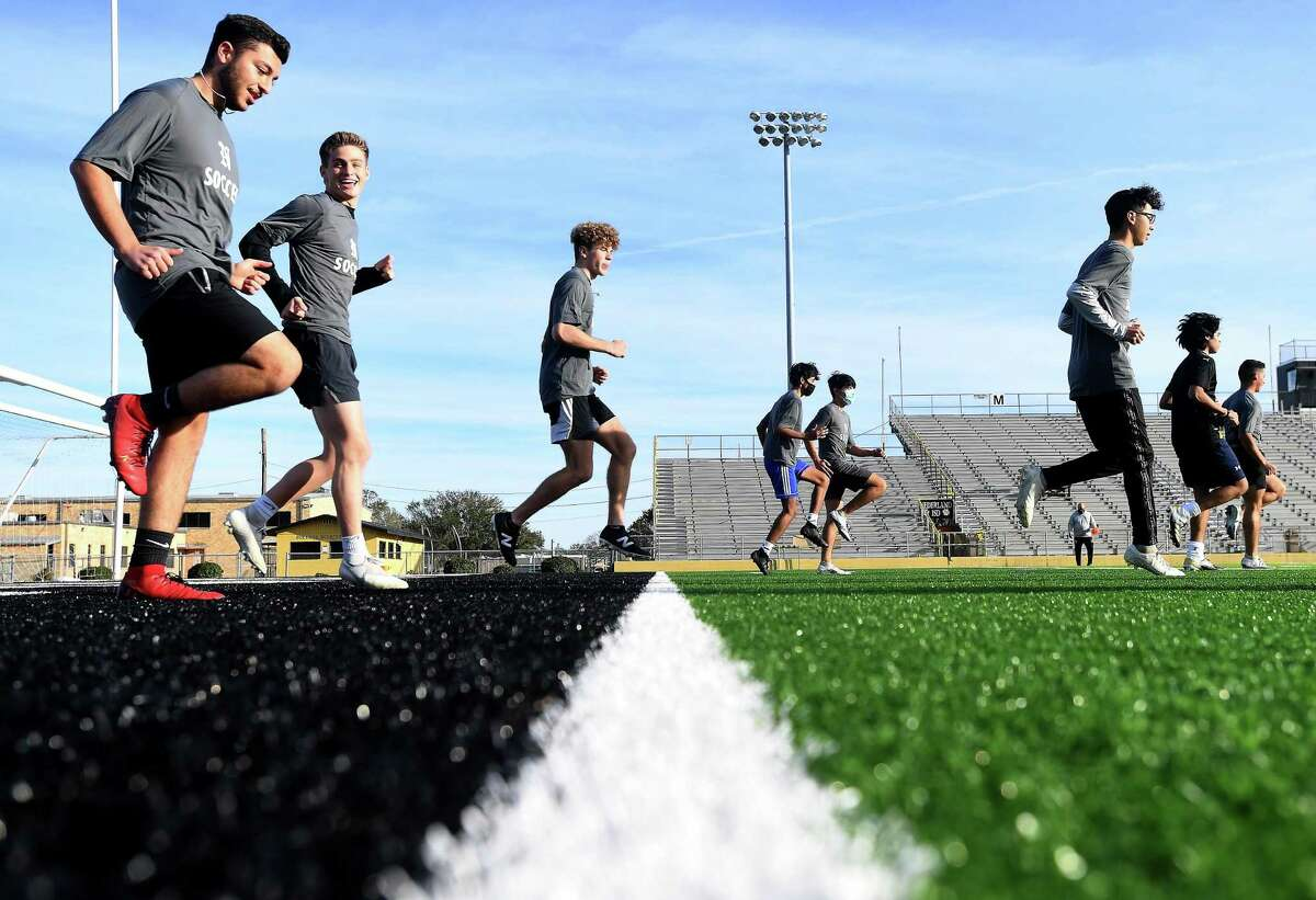 The Nederland boys soccer team practices at Bulldog stadium Wednesday as they get ready to dig into this seaon on the heels of a run cut short by COVID-19 last year. Photo taken Wednesday, January 27, 2021 Kim Brent/The Enterprise