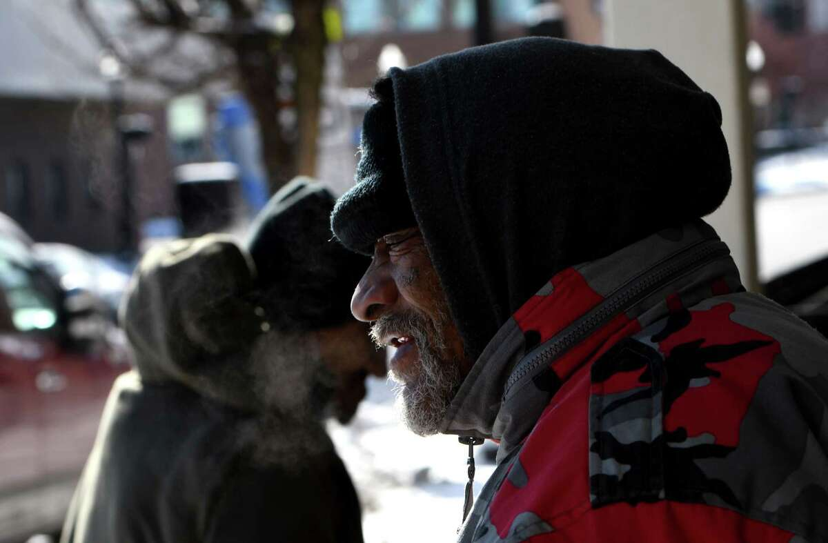 Lonnie Richardson, 65, stands outside the Capital City Rescue Mission after lunch on Friday, Jan. 29, 2021, in Albany, N.Y. (Will Waldron/Times Union)
