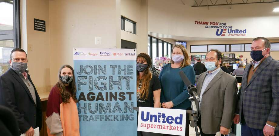 Representatives from the United Family as well as the three Lubbock organizations described the sticker campaign as a way to spread awareness of human trafficking that has affected the area. Photo: Provided By The United Family