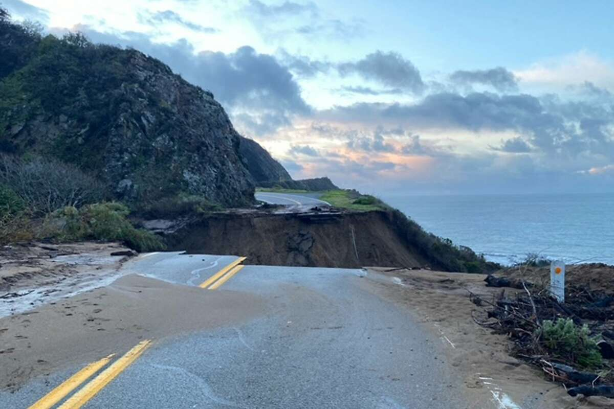 Stretch of Highway 1 in Monterey County washes away