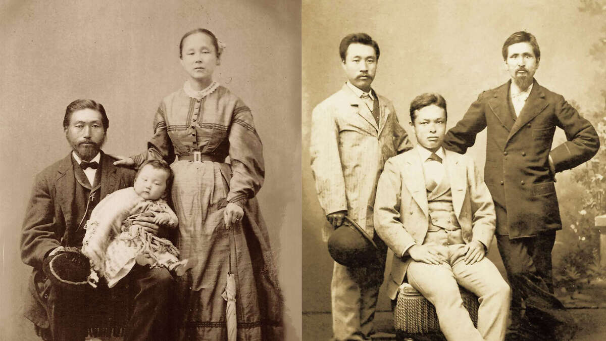Matsugoro Ofuji, a carpenter who came from Japan in 1869, is believed to be pictured in this photo on the left. The photograph ont he right is among many donated to the California state parks system to celebrate the history of the Wakamatsu colony. The colony's leader, John Henry Schnell, is believed to be the gentleman on the right. The identity of the other colonists is not known.
