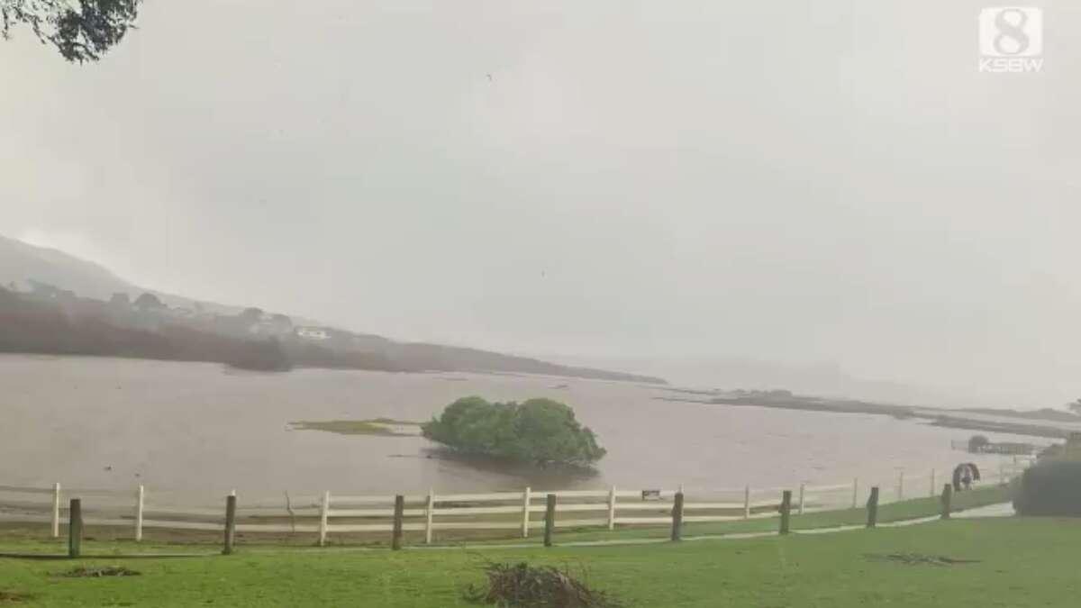 The Carmel River floods on Jan. 28, 2021 in Carmel, Calif.