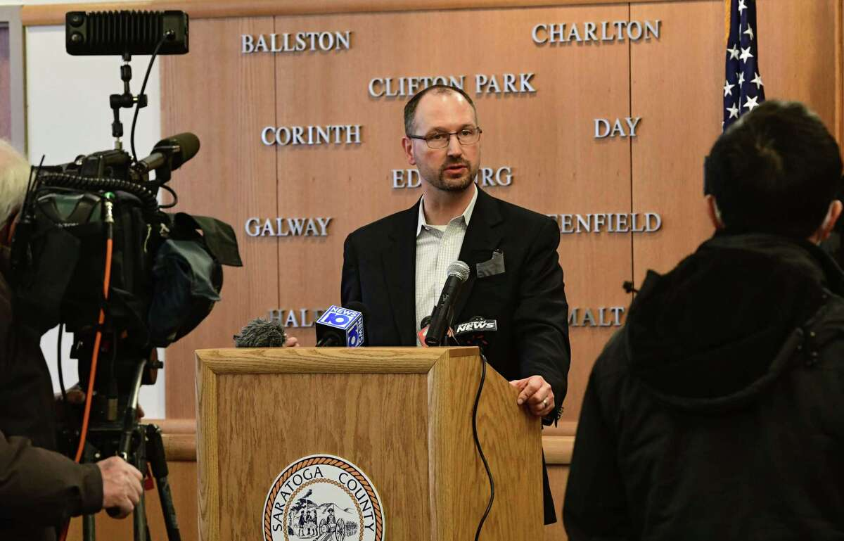 Drew Jarosh, Saratoga County treasurer, speaks as Saratoga County provides an update on COVID-19 and vaccination efforts and a detail decision on high school sports at the Saratoga County Office Building Friday, Jan. 29, 2021 in Ballston Spa, N.Y. (Lori Van Buren/Times Union)