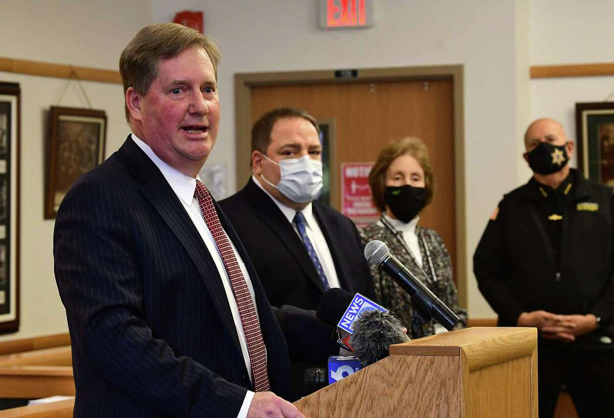 Theodore Kusnierz, chairman of the Saratoga County Board of Supervisors, speaks as Saratoga County provides an update on COVID-19 and vaccination efforts and a detail decision on high school sports at the Saratoga County Office Building Friday, Jan. 29, 2021 in Ballston Spa, N.Y. (Lori Van Buren/Times Union)
