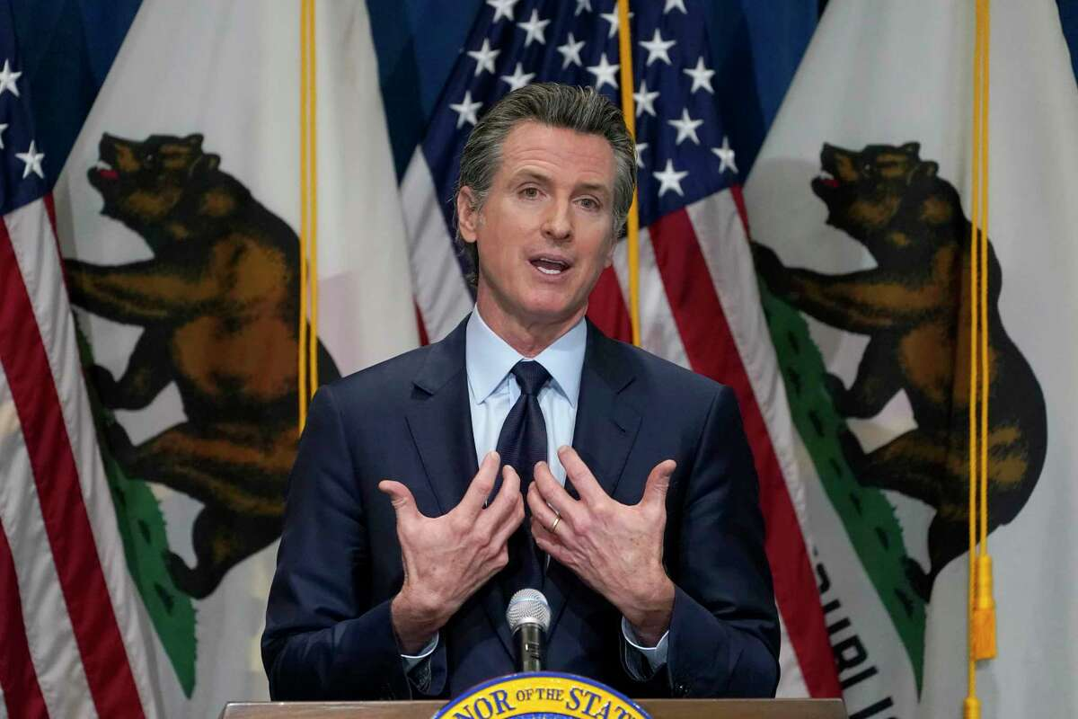 California Gov. Gavin Newsom outlines his 2021-2022 state budget proposal Jan. 8, 2021, during a news conference in Sacramento, Calif.