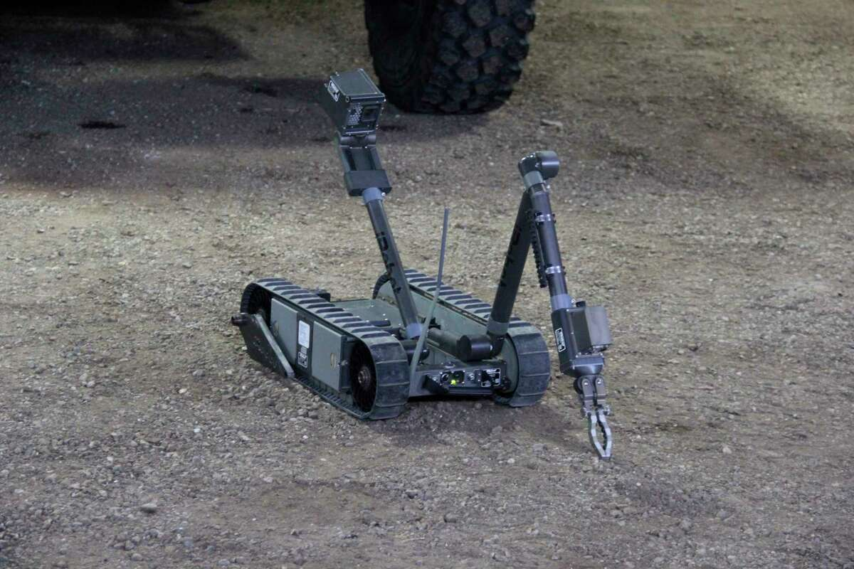 A bomb defusal robot the sheriff's department has on loan from the U.S. military. The department has had this robot since 2018. (Robert Creenan/Huron Daily Tribune)