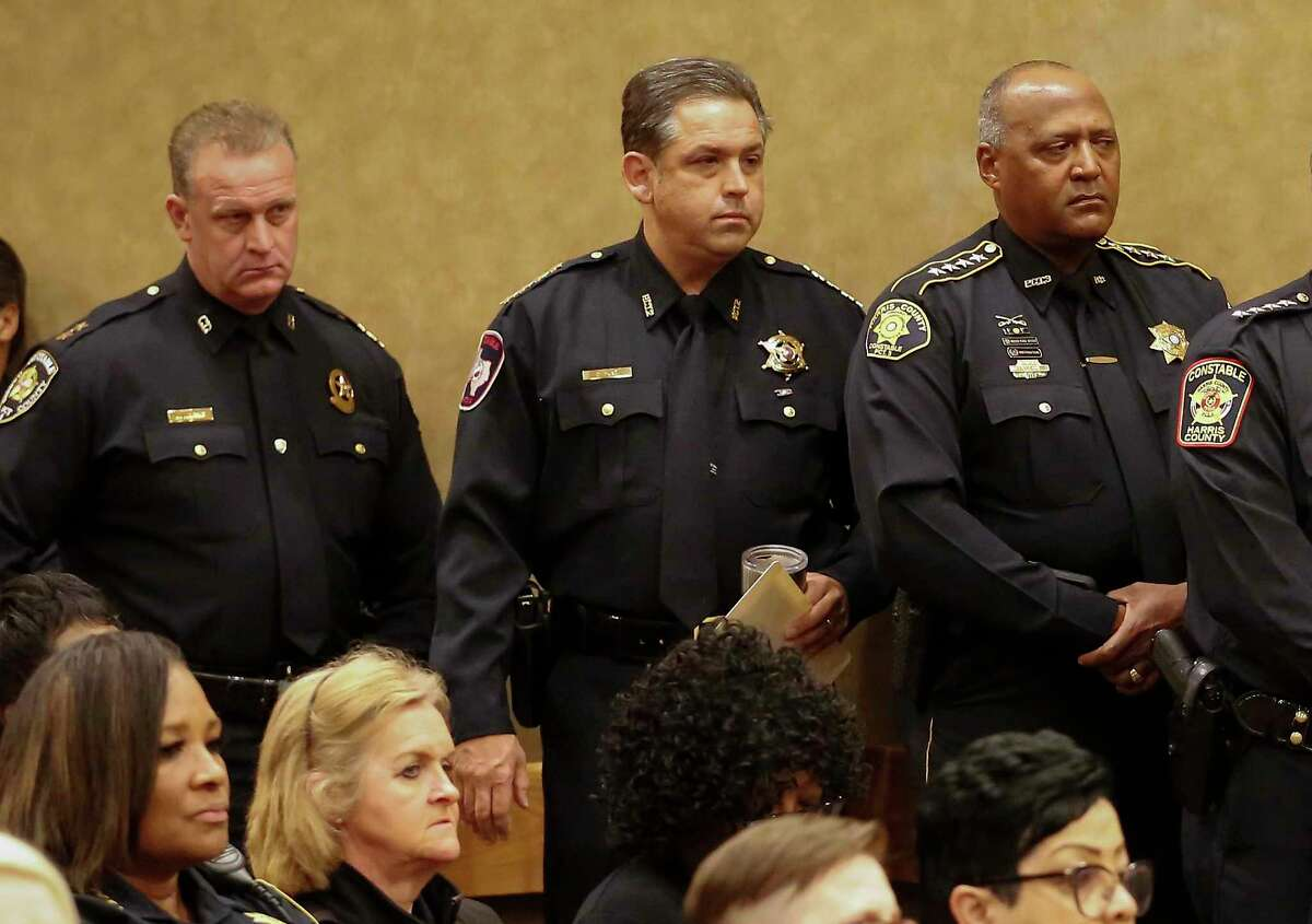 Former Harris County Constable Chris Diaz, shown here at a commissioners court meeting in March 2020, has yet to file a campaign finance report due Jan. 12. A Houston Chronicle review of Diaz' campaign reports shows a discrepancy of more than $60,000 between what the campaign collected and what it spent.