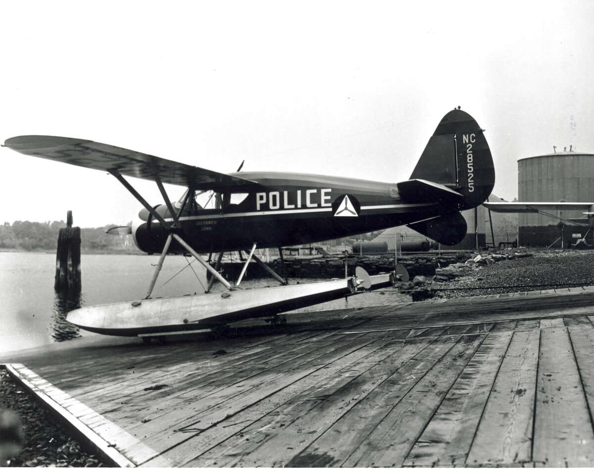For a time in the 1940s, the Greenwich police had its own air force, a seaplane, seen here in 1944.