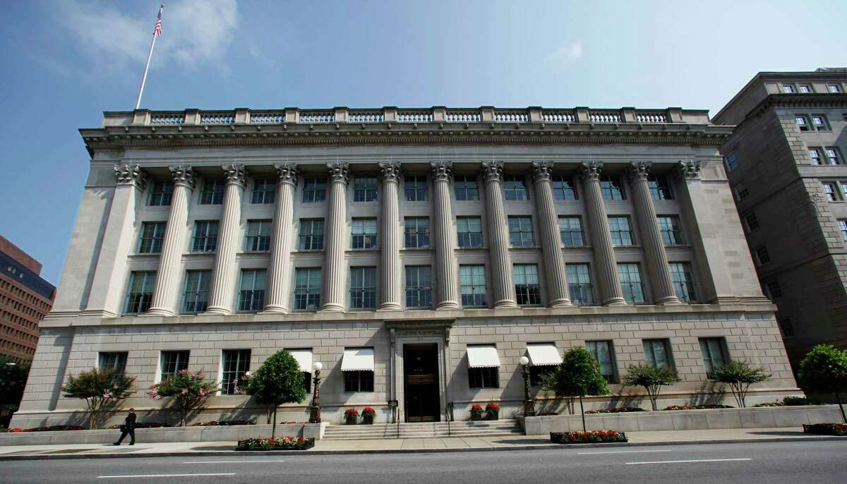 This file photo shows the United States Chamber of Commerce building in Washington. Elite cyber spies spent months secretly exploiting SolarWinds software to peer into computer networks, putting many of the company's highest-profile customers in national governments, including the U.S. Treasury and Commerce departments.