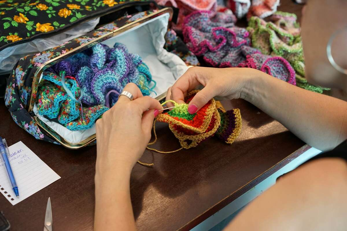 Crochet Coral Reef workshop at the Van AbbeMuseum, Eindhoven, the Netherlands. Photo courtesy VAM and the Institute For Figuring.