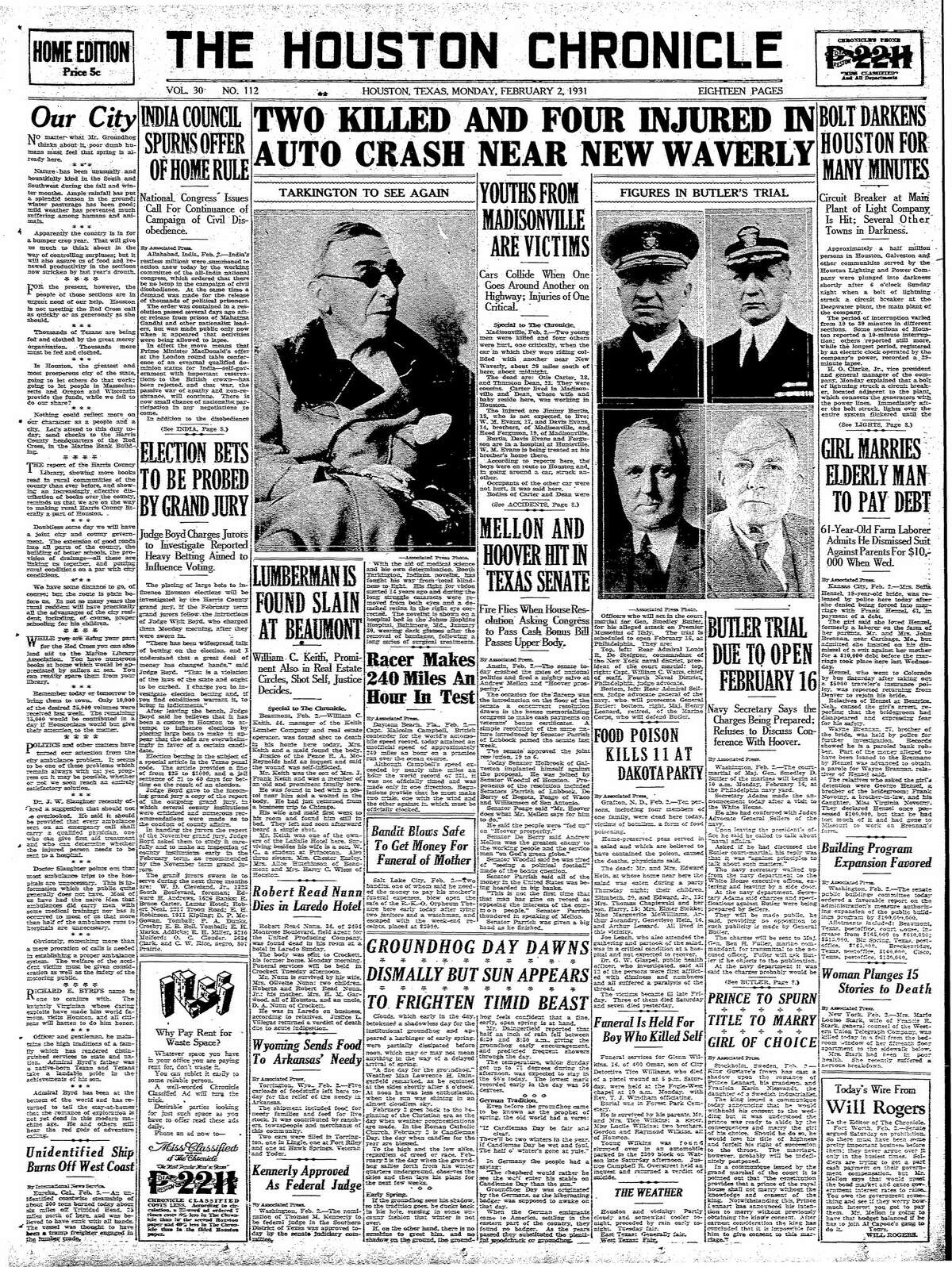 Houston Chronicle front page from Feb. 2, 1931.